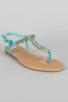8a80296b0f50 Patent Rhinestone T-Strap Flat Sandal