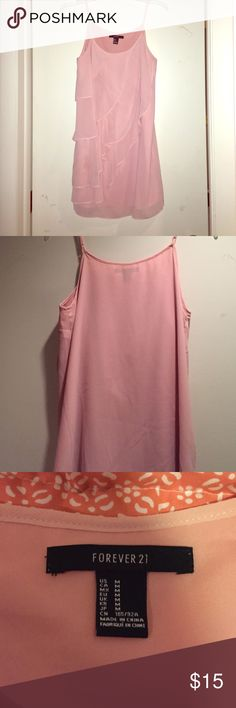 Blush colored flowy dress! Pretty blush colored dress, silky flowy material! Forever 21 Dresses Mini