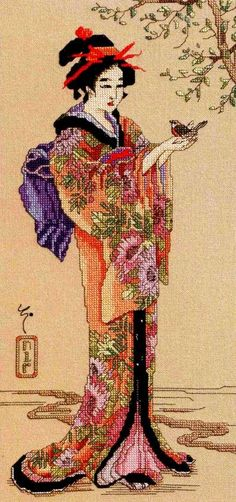 0 point de croix geisha et oiseau - cross stitch geisha and bird