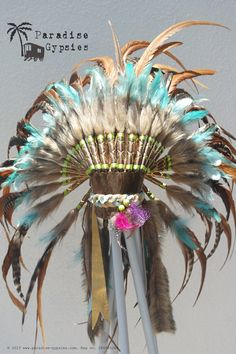 Natural Feather Turquoise Accent Feather door ParadiseGypsies, $165.00