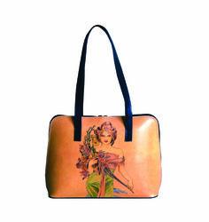 Ručne maľovaná kabelka 8574 inšpirovaná motívom Alfons Mucha je nádherná kožené kabelka, ručne maľovaná.