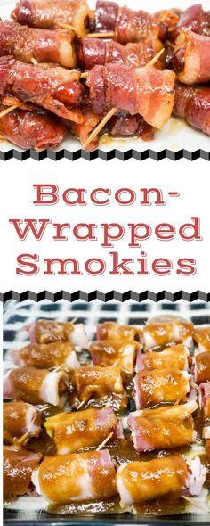 Little Smokies Wrapped In Bacon Recipe, Bacon Wrapped Sausages, Bacon Wrapped Smokies, Sausage Appetizers, Bacon Sausage, Candied Bacon, Smoked Bacon, Easy Appetizer Recipes, Yummy Appetizers