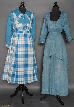 Two Blue Work Dresses, 1912-1915, Augusta Auctions, April 8, 2015 NYC Edwardian Clothing, Edwardian Dress, Antique Clothing, Edwardian Fashion, Historical Clothing, Vintage Fashion, Long Plaid Skirt, Long A Line Skirt, Vintage Gowns