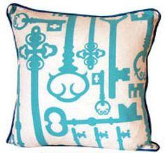 Blue pillow with keysq