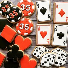 #Casino Sweets -- Birthday cookies #poker #gambling #dice ideas