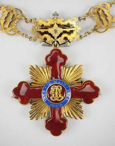 Rumänien: Orden Bb Cushion, Military Decorations, Arts Award, Royal Jewelry, Crucifix, Coat Of Arms, Jewels, Chain, Design
