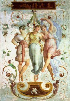 1817Francesco Hayez (Italian Romanticism; 1791-1882) ~ 'The Three Graces' [Decorative panel of dancers]