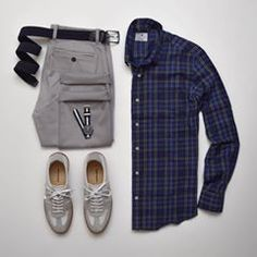 Blue and gray to start the day  ———BRANDS——— Shirt: Pacific Issue Chinos: Nifty Genius Sneakers: Beckett Simonon Morgen Watch: Daniel Wellington ———EXPLORE——— For more ➡ Styles of Man - Men\'s Fashion Inspiration and Resources (Outfit Grids, Flatlays etc.) + stylesofman.com ————TAGS———— #stylesofman #mensfashion #malefashionadvice #malefashion #outfitgrids #flatlay #outfitgrid #fashionblogger