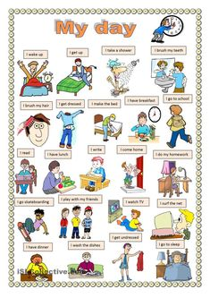 My day. worksheet – Free ESL printable worksheets made by teachers: My day. worksheet – Free ESL printable worksheets made by teachers: English Verbs, Kids English, English Study, English Lessons, English Vocabulary, English Grammar, Learn English, English English, French Lessons