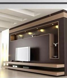 Modern and elegant TV wall design. Living room tv Boho So … Modern and elegant TV wall design. Living room tv Boho So … - Mobilier de Salon Tv Unit Decor, Tv Wall Decor, Wall Tv, Tv Wanddekor, Tv Wall Cabinets, Tv Unit Furniture, Furniture Design, Modern Tv Wall Units, Modern Tv Room