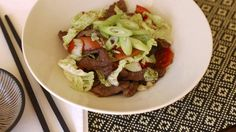 Dinner in a flash: Beef stir-fried with wombok and chilli.