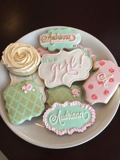 Shabby Chic Baby Shower Cookies / One Dozen by ShopCookieCouture on Etsy https://www.etsy.com/listing/226884075/shabby-chic-baby-shower-cookies-one