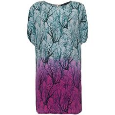 French Connection Sea Fern Silk Dress, Lake Blue Multi