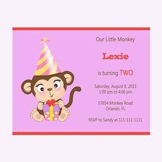 Girl Monkey Birthday Invitation Girl by DigitalDesignsByDawn