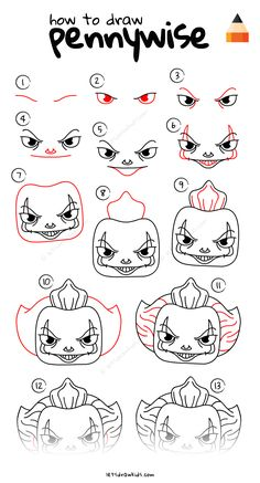 Learn How To Draw Pennywise the Clown with this step-by-step tutorial and video. In diesem Tutorial und Video erfahren Sie, wie Sie Pennywise, den Clown, zeichnen. Easy Disney Drawings, Scary Drawings, Easy Cartoon Drawings, Cute Easy Drawings, Halloween Drawings, Cool Art Drawings, Art Sketches, Drawing Cartoon Characters, Scary Halloween