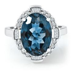 Helzberg Limited Edition® Oval Blue Topaz & Diamond Ring in 10K Gold - Colored Gem Rings - Rings - Jewelry - Helzberg Diamonds $799.99