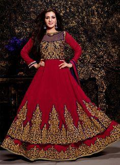 Gleaming Georgette Maroon Zari Work Anarkali Salwar Kameez