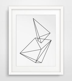 Geometric Print Wall Prints Black and White by MelindaWoodDesigns
