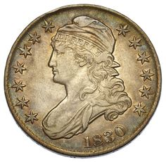 Lot 16: 1830 50c Capped Bust VF ; Toned obverse and reverse