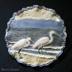 Ceramics-Animals-Becky Dennis: Egrets on the MS gulf coast.