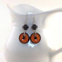 Orange Sunset Earrings  Wood Decopage Earrings  by CinLynnBoutique
