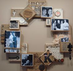16 canvas blocks, 1 staple gun, 1 hot glue gun, 8 hands and a lot of laughs. this was the Canvas Class at The Scrap Yard a few weeks ago. Home Crafts, Fun Crafts, Diy And Crafts, Paper Crafts, Picture Wreath, Picture Wall, Picture Frames, Altered Canvas, Frame Wreath