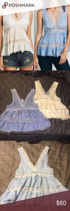 2 NEW Free People Tanks Bundle This is the Intimates Deep V Trapize top. In blue and in cream , both tops brand new with tags , blue XS / cream Small Free People Tops Tank Tops