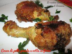 Cosce di pollo panate e cotte in forno