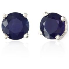 Effy Blue Round Sapphire Earrings In 14K White Gold ($390) ❤ liked on Polyvore featuring jewelry, earrings, stud earrings, blue, 14k white gold earrings, 14k stud earrings, 14 karat gold earrings and blue jewelry