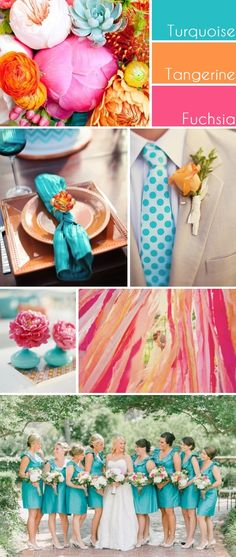 My Wedding Reception Ideas Blog: Turquoise, Tangerine and Fuchsia - A Sweet and Fun Wedding Color Story