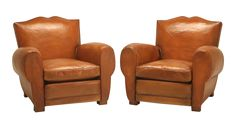 French Art Deco Moustache Back Leather Club Chairs on DECASO.com