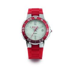 The Jewelers You Can Trust - Elle Vibe Watch in Red with mother of pearl dial and stainless steel case, $175.00