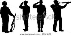 Military servicemen silhouette - stock vector #soldiers #silhouette #illustration