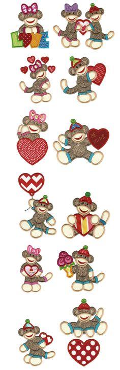 Embroidery   Applique Machine Embroidery Designs   Valentine Sock Monkeys Applique