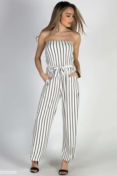 fd48ff5d0b90 Belted Strapless White   Black Striped Jersey Wide Leg Jumpsuit with Pockets  Striped Jumpsuit