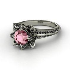 Brilliant Lotus Ring, Round Rhodolite Garnet  Platinum Ring with Black Diamond from Gemvara