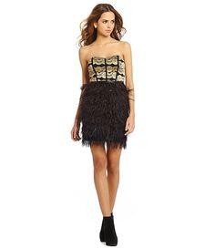 Gianni Bini Jessa Sequined Feathered Sweetheart Dress | Dillards.com