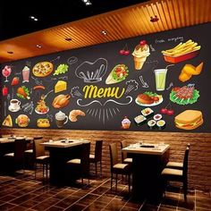 Quality Personalized Blackboard Graffiti Food Mural Wallpaper Cake Shop Cafe Hamburger Shop Restaurant Photo Wallpaper Wall Covering with free worldwide shipping on AliExpress Mobile Restaurant Branding, Plan Restaurant, Small Restaurant Design, Deco Restaurant, Restaurant Photos, Graffiti Restaurant, Graffiti Cafe, Coffee Shop Design, Cafe Design