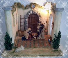 Christmas Nativity Scene, Christmas Tree, Portal, Santa Claus Is Coming To Town, Easy Diy Projects, Cribs, Miniatures, Xmas, Diy Crafts