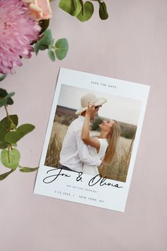 Wedding Photo Save The Date Template, Modern Printable Wedding Save the Date, Editable Photo Save the Date, Instant Download TA42 V42
