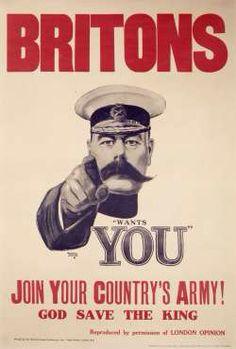 Propaganda   Hier zie je een Britse propagandaposter uit de tweede Wereldoorlog. Er wordt in opgeroepen om in het leger te gaan en mee te strijden tegen de Duitsers.