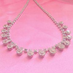 Vintage Prong Set Clear Rhinestone Choker Necklace