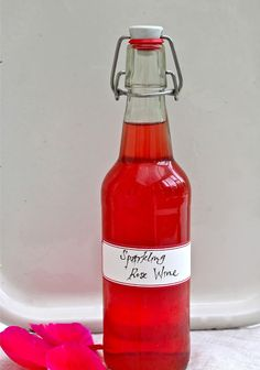 Sparkling Rose Petal Wine!  A simple brewing project that you can do at any time of the year, for a lovely, bubbly libation.