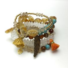 Multi Strand Beaded Bracelet Stack featuring Semi Precious Stones and Gold Detailing by EtcHawaii on Etsy