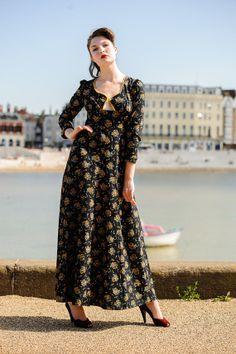 Vintage Radley Ossie Clark style peekaboo bust floral 70s maxi dress