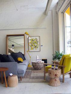 WANT Mark Tuckey egg cup stool, mustard armchair, log coffee table. Retro Interior Design, Interior Design Living Room, Living Room Designs, My Living Room, Home And Living, Living Spaces, Room Inspiration, Interior Inspiration, Arquitetura