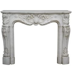 Louis XV Style Fireplace in Carrara Marble, Period 19th century | 1stdibs.com