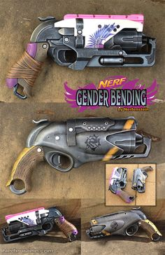 Gender Bending Nerf Rebelle Hammershot weapon mods. Painted the 'boys' one in traditional feminized style and the 'girls' in traditional masculine style. Oh why can't they all just be marketed to everyone rather than splitting the range.