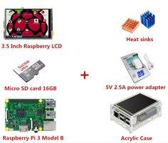 Mini PC set Raspberry Pi 3 Model B+3.5 Inch Raspberry LCD TFT+ 5V 2.5A power adapter+Micro SD card 16G+Acrylic Case+Heat sinks Projetos Raspberry Pi, Raspberry Pi Projects, Tech Gifts, Tech Gadgets, Sd Card, Sinks, Cards, Model, Free Shipping