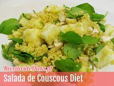 Salada de Couscous, Agrião, Maçã e Caju #receita #dieta #light #saude #fitness